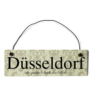 Düsseldorf Dekoschild Türschild beige mit Draht