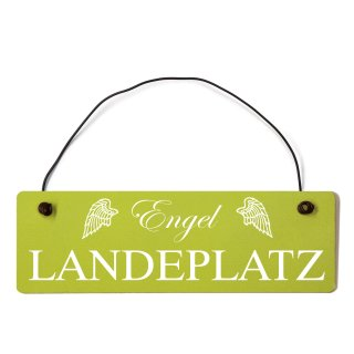 Engel Landeplatz Dekoschild Türschild grün mit Draht