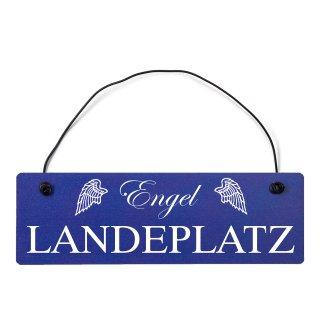 Engel Landeplatz Dekoschild Türschild hellblau mit Draht