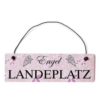 Engel Landeplatz Dekoschild Türschild rosa mit Draht