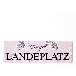 Engel Landeplatz Dekoschild Türschild rosa zum kleben