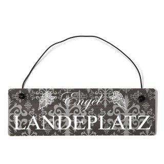 Engel Landeplatz Dekoschild Türschild lila mit Draht