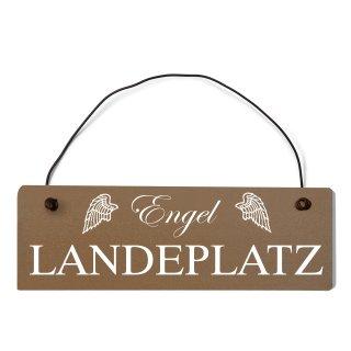 Engel Landeplatz Dekoschild Türschild braun mit Draht