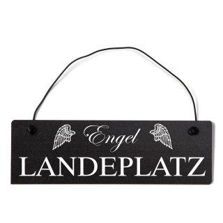 Engel Landeplatz Dekoschild Türschild schwarz mit Draht