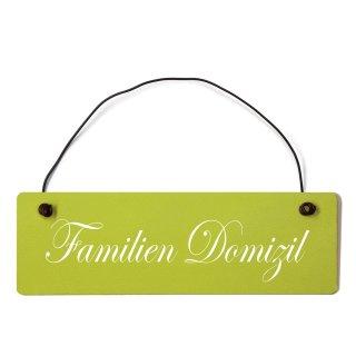Familien Domizil Dekoschild Türschild grün mit Draht