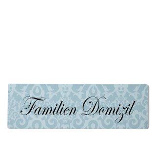 Familien Domizil Dekoschild Türschild blau zum kleben
