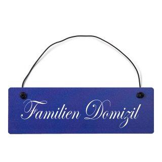Familien Domizil Dekoschild Türschild hellblau mit Draht