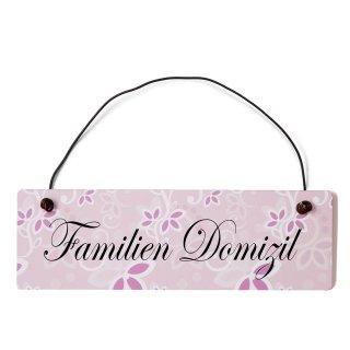 Familien Domizil Dekoschild Türschild rosa mit Draht