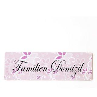 Familien Domizil Dekoschild Türschild rosa zum kleben