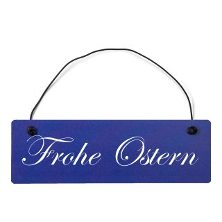 Frohe Ostern Dekoschild Türschild hellblau mit Draht