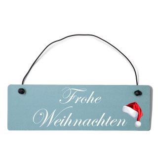 Frohe Weihnachten Dekoschild Türschild gelb mit Draht