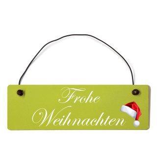 Frohe Weihnachten Dekoschild Türschild grün mit Draht