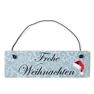 Frohe Weihnachten Dekoschild Türschild blau mit Draht