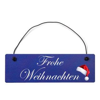 Frohe Weihnachten Dekoschild Türschild hellblau mit Draht
