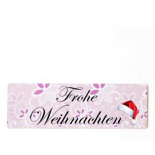 Frohe Weihnachten Dekoschild Türschild rosa zum kleben