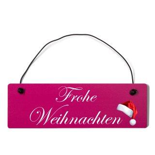 Frohe Weihnachten Dekoschild Türschild pink mit Draht