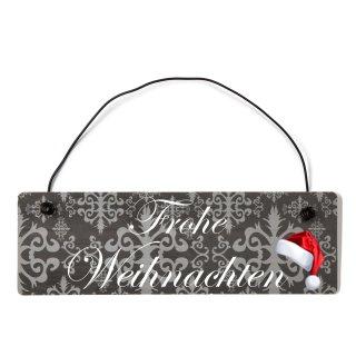 Frohe Weihnachten Dekoschild Türschild lila mit Draht
