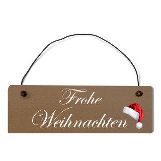 Frohe Weihnachten Dekoschild Türschild braun mit Draht