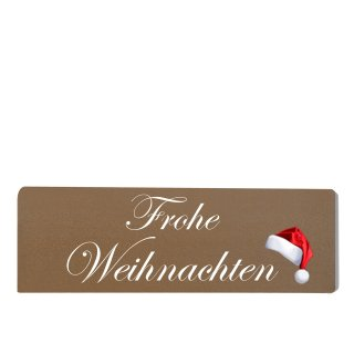 Frohe Weihnachten Dekoschild Türschild braun zum kleben