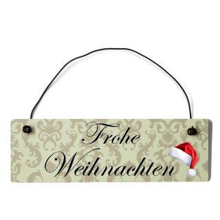 Frohe Weihnachten Dekoschild Türschild beige mit Draht