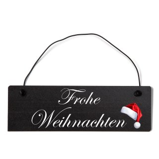 Frohe Weihnachten Dekoschild Türschild schwarz mit Draht