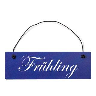 Frühling Dekoschild Türschild hellblau mit Draht