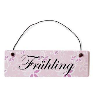 Frühling Dekoschild Türschild rosa mit Draht