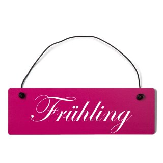 Frühling Dekoschild Türschild pink mit Draht