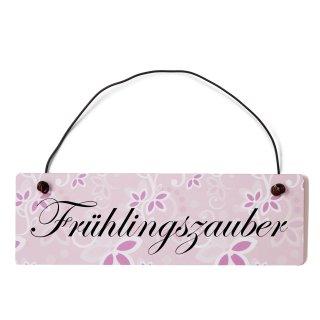 Frühlingszauber Dekoschild Türschild rosa mit Draht