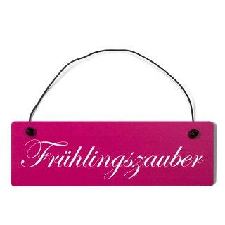 Frühlingszauber Dekoschild Türschild pink mit Draht