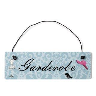 Garderobe Dekoschild Türschild blau mit Draht
