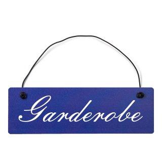 Garderobe Dekoschild Türschild hellblau mit Draht
