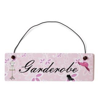 Garderobe Dekoschild Türschild rosa mit Draht