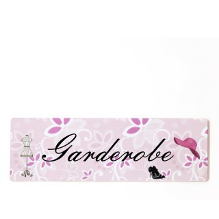 Garderobe Dekoschild Türschild rosa zum kleben