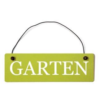 Garten Dekoschild Türschild grün mit Draht