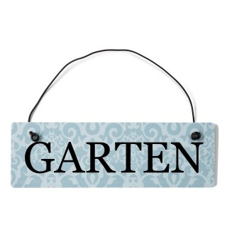 Garten Dekoschild Türschild blau mit Draht