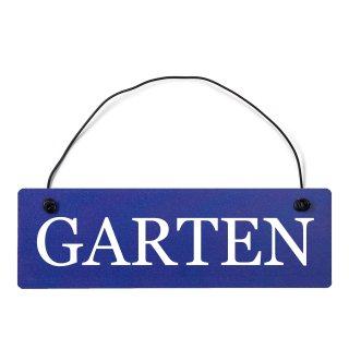 Garten Dekoschild Türschild hellblau mit Draht