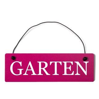 Garten Dekoschild Türschild pink mit Draht
