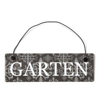 Garten Dekoschild Türschild lila mit Draht