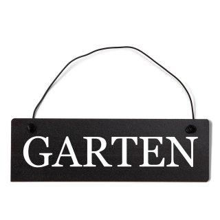 Garten Dekoschild Türschild schwarz mit Draht