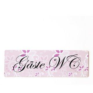 Gäste WC Dekoschild Türschild rosa zum kleben