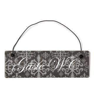 Gäste WC Dekoschild Türschild lila mit Draht