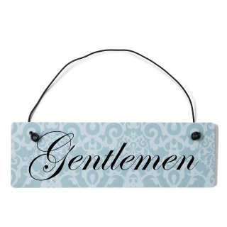 Gentleman Dekoschild Türschild blau mit Draht