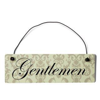 Gentleman Dekoschild Türschild beige mit Draht