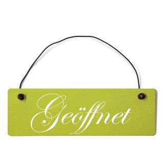 Geöffnet Dekoschild Türschild grün mit Draht