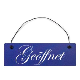 Geöffnet Dekoschild Türschild hellblau mit Draht