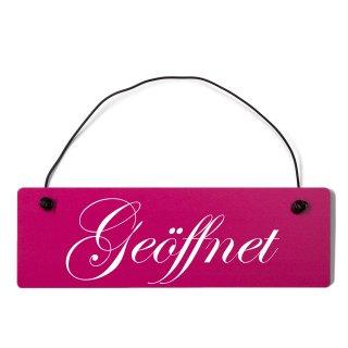 Geöffnet Dekoschild Türschild pink mit Draht