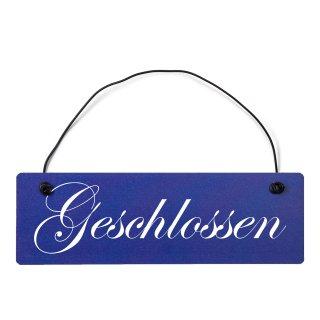 Geschlossen Dekoschild Türschild hellblau mit Draht