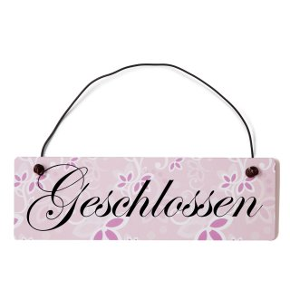 Geschlossen Dekoschild Türschild rosa mit Draht