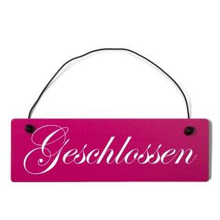 Geschlossen Dekoschild Türschild pink mit Draht